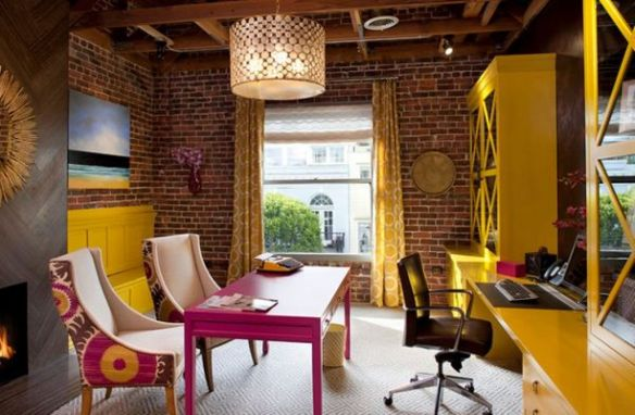 Lively-Eclectic-Home-Office-with-brick-walls